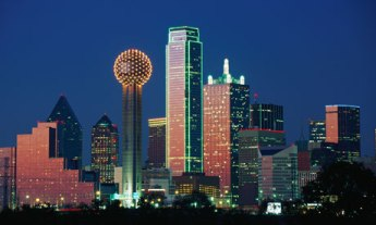 Reunion Tower and Dallas skyline at sunset
